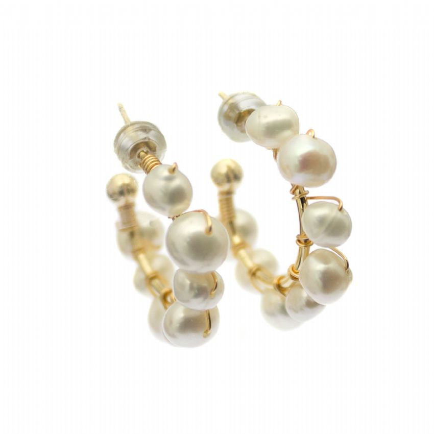 Beaded Pearl Hoop Earrings White Cultured Freshwater Pearls on Gold Wire